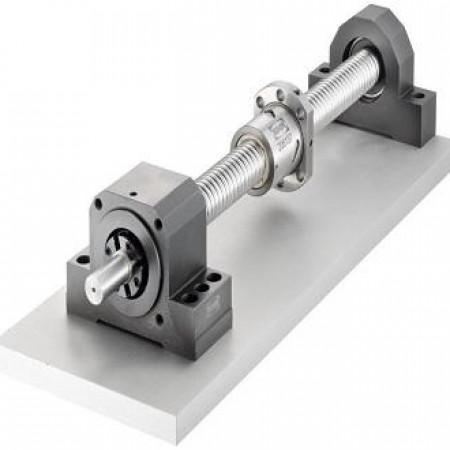 Projeto de automação industrial com guias lineares e fusos de esferas, movimentação linear